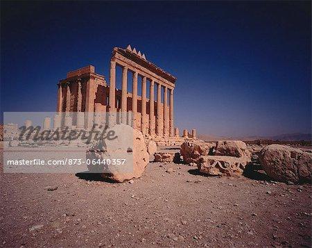 Sandstone Columns in Desert Roman Ruins of Palmyra, Syria