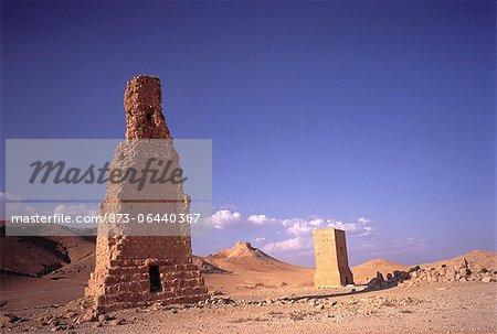 Ruines de grès dans le désert de Palmyre, Syrie