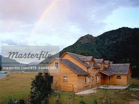 Log Cabin and Rainbow Patagonia, Argentina