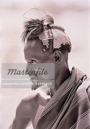 Profile of Masai Man Outdoors Kenya
