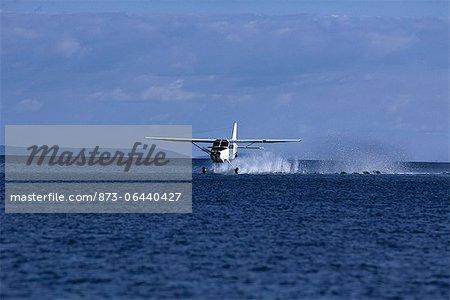 Seaplane Landing on Water Lake Kariba, Zambia, Africa