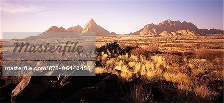 Vue d'ensemble du paysage Spitzkoppe, Namibie, Afrique