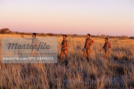 Bushmen Hunting at Dusk Namibia, Africa