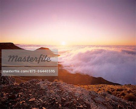 Coucher de soleil Beaufort West Karoo National parc Western Cape, Afrique du Sud