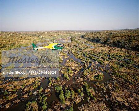 Helicopter Above Sabie River Skukuza, Kruger National Park Mpumalanga, South Africa