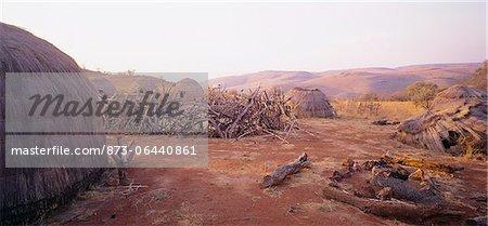 Zulu Huts on Film Set, Zululand, KwaZulu Natal, South Africa