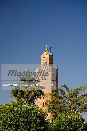 Le minaret de la Koutoubia, entouré de palmiers, Marrakech, Maroc, Afrique du Nord, Afrique