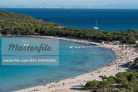 An aerial view of Rondinara Beach near Bonifacio in Corsica, France, Mediterranean, Europe