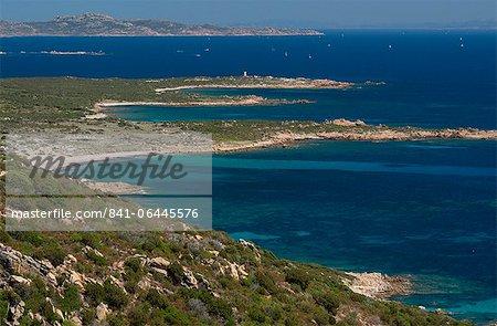 An elevated view of the southwest coast of Corsica near Bonifacio called Reserve Naturelle des Bouches de Bonifacio, Corsica, France, Mediterranean, Europe