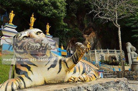 Tiger statue, Tiger Cave Temple (Wat Tham Suea), Krabi Province, Thailand, Southeast Asia, Asia