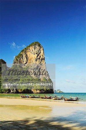 Rai Leh Ouest plage, Rai Leh (Railay), Côte d'Andaman, Province de Krabi, Thaïlande, Asie du sud-est, Asie