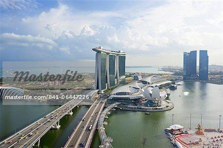 Le pont de Helix et Marina Bay Sands Singapore, Marina Bay, Singapour, l'Asie du sud-est, Asie