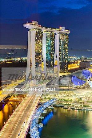 The Helix Bridge and Marina Bay Sands Singapore at night, Marina Bay, Singapore, Southeast Asia, Asia