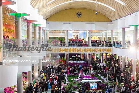 Kimilsungia Blume Ausstellungshalle mit Blumenschau feiern 100. Geburtstag von Kim Il Sung, Pyongyang, Demokratische Volksrepublik Korea (DVRK), Nordkorea, Asien