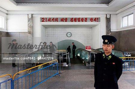 Punhung Bahnhof, einem der vielen 100 Meter tiefen u-Bahnstationen in der u-Bahn Pyongyang Netzwerk, Pjöngjang, Demokratische Volksrepublik Korea (DVRK), North Korea, Asien