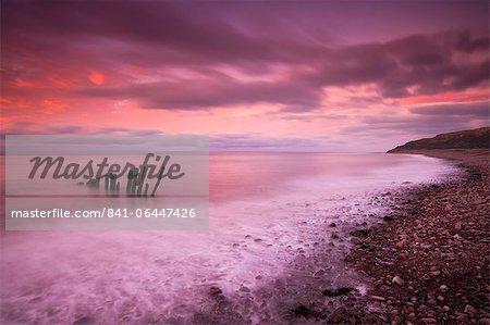 Autumn sunset on Bossington Beach, Exmoor National Park, Somerset, England, United Kingdom, Europe