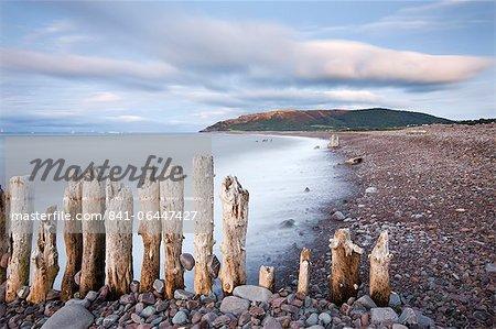 Défenses maritimes épi en bois sur la plage de Porlock, Parc National d'Exmoor, Somerset, Angleterre, Royaume-Uni, Europe