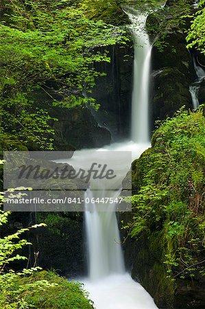 Waterfall on Hoar Oak River near Watersmeet, Exmoor, Devon, England, United Kingdom, Europe