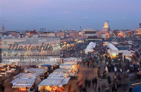 Restaurant stalls, Djemaa el Fna, Marrakech, Morocco, North Africa, Africa