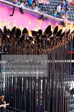 La vasque de torche olympique dans le stade olympique pour les Jeux olympiques de 2012, Londres, Royaume-Uni, Europe