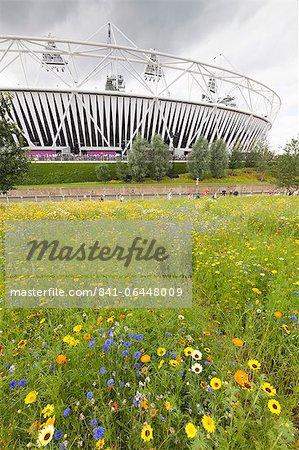 Stade olympique entourée de fleurs sauvages dans l'Olympic Park, ville de Stratford, Londres, Royaume-Uni, Europe