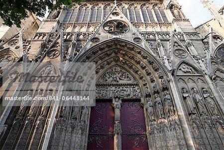 Saint-Etienne's gate, South facade, Notre Dame Cathedral, Paris, France, Europe