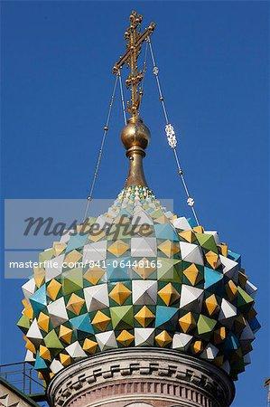 Dôme de l'oignon, église du Sauveur sur le sang versé (église de la Résurrection), patrimoine mondial de l'UNESCO, Saint-Pétersbourg, Russie, Europe