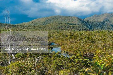 Landscape near the waterfalls Chutes de la Madeleine on the south coast of Grande Terre, New Caledonia, Melanesia, South Pacific