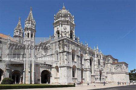 Le monastère de Heironymites (Mosteiro dos Jerónimos), de style manuélin, patrimoine mondial de l'UNESCO, Belém, Lisbonne, Portugal, Europe
