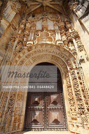 Manueline Main doorway, by Joao de Castilho, Convent of Christ, UNESCO World Heritage Site, Tomar, Ribatejo, Portugal, Europe