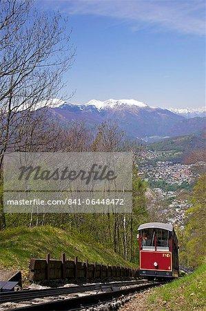View of Monte Bre Funicular, Lake Lugano, Lugano, Ticino, Switzerland, Europe