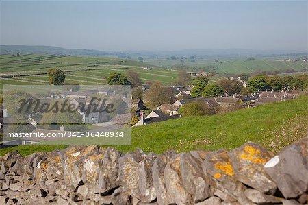 Litton Village and dry stone wall, Derbyshire, England, United Kingdom, Europe
