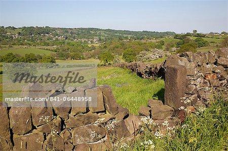 Landscape near Ashover and dry stone walls, Derbyshire, England, United Kingdom, Europe
