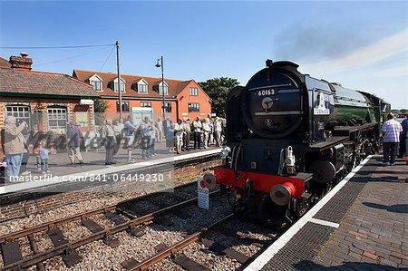 Pacfic classe Steam Locomotive Tornado visitant Sheringham sur la ligne de pavot, North Norfolk Railway, Norfolk, Angleterre, Royaume-Uni, Europe