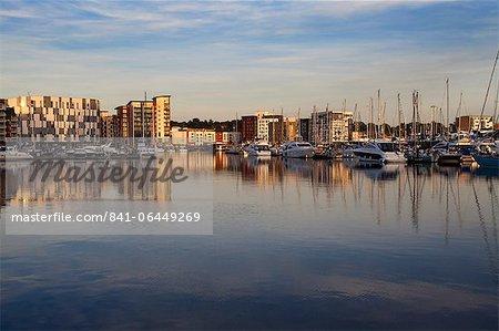 Ipswich Marina au coucher du soleil, Ipswich, Suffolk, Angleterre, Royaume-Uni, Europe