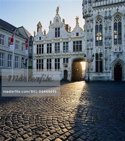 Burg Square and the Town Hall, Bruges, UNESCO World Heritage Site, West Vlaanderen (Flanders), Belgium, Europe