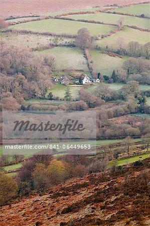 An isolated farmhouse in Dartmoor National Park, Devon, England, United Kingdom, Europe