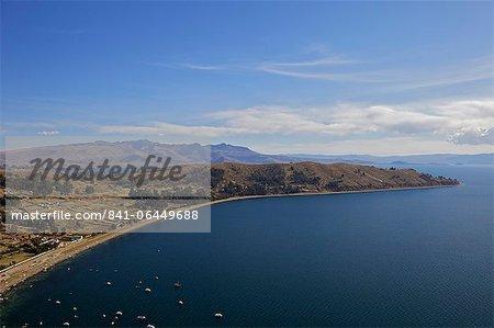 View of Copacabana and Lake Titicaca from Cerro Calvario, Copacabana, La Paz Department, Bolivia, South America