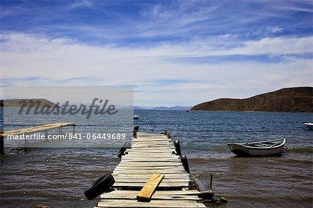 Jetty at Challapampa, Isla del Sol, Lake Titicaca, Bolivia, South America