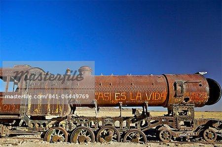 Rusting old steam locomotive at the Train cemetery (train graveyard), Uyuni, Southwest, Bolivia, South America