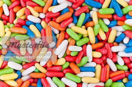 Einer der der Pick und Mix Candy Ständen am Sonntagmorgen Markt, Pollenca, Tramuntana, Mallorca, Balearen, Spanien, Europa