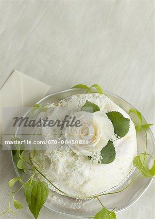 Weiße rose-Kuchen