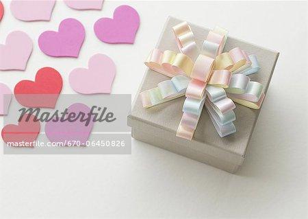 Gift box and hearts