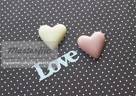 Chocolats en forme de coeur
