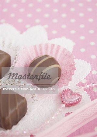 Rose à pois et chocolats