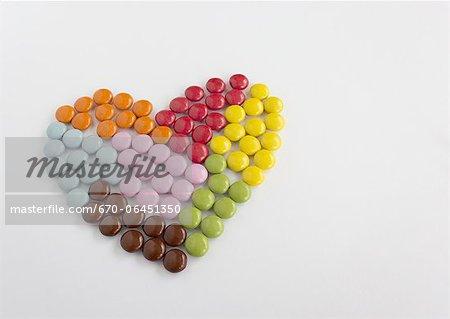 Billes de chocolat en forme de coeur