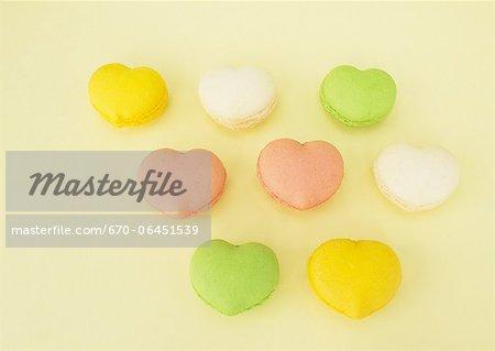 Heart-shaped macaroons
