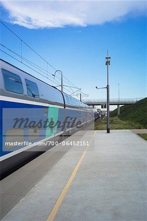 TGV Train Arriving at Platform of Valence Station, Valence, Drome Department, France