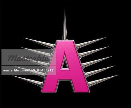 letter a with metal prickles on black background - 3d illustration