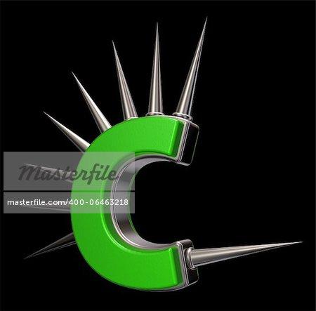 letter c with metal prickles on black background - 3d illustration